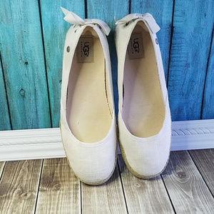 UGG ivory cream linen ballet flats espadrilles 9.5